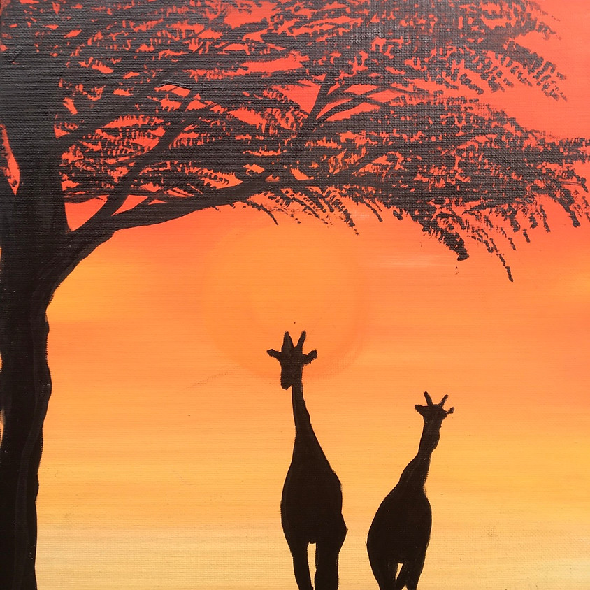 3 Dogs Brewing Paint Night - African Sunset - Tap Painting for Full View