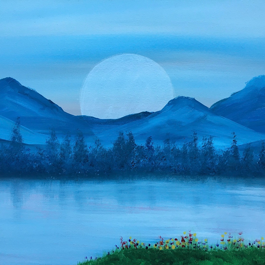 Facebook Live Painting Class - Moon over Mountains