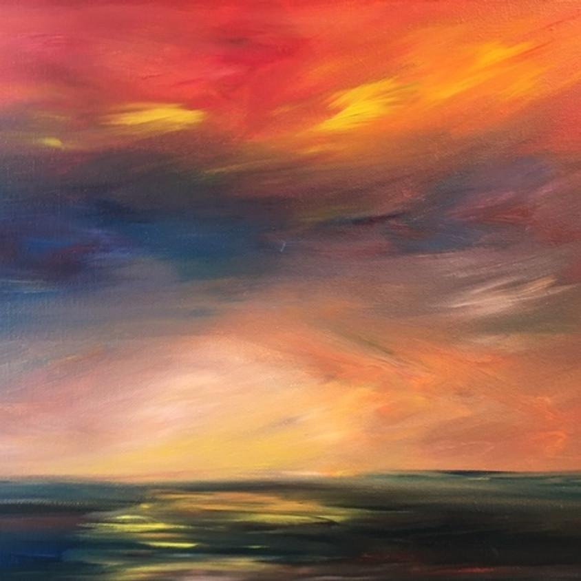 Abstract Painting Class - Sunset - Palette Knife & Brush Blending Class