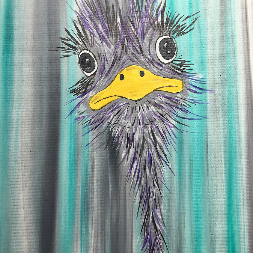 3 Dogs Brewing - Paint Night  TAP painting for full view - Ostrich