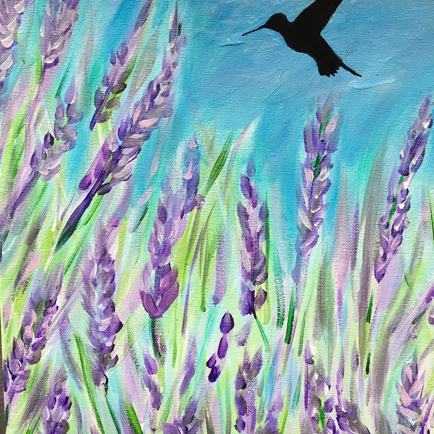 Easy Live  Lavender & Hummingbird Painting Class