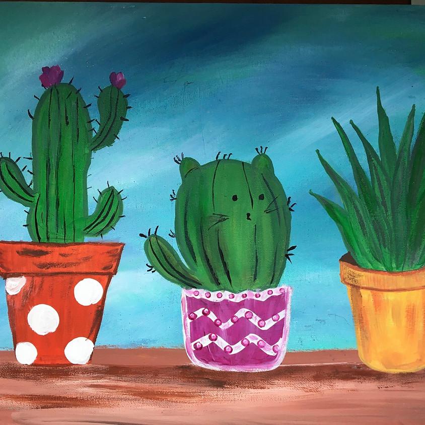 "Adorable ""Cat- Cactus 🌵 "" & Succulent Acrylic Painting Class"