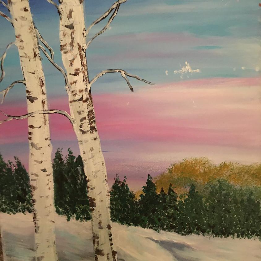 Winter Birch tree Painting Class