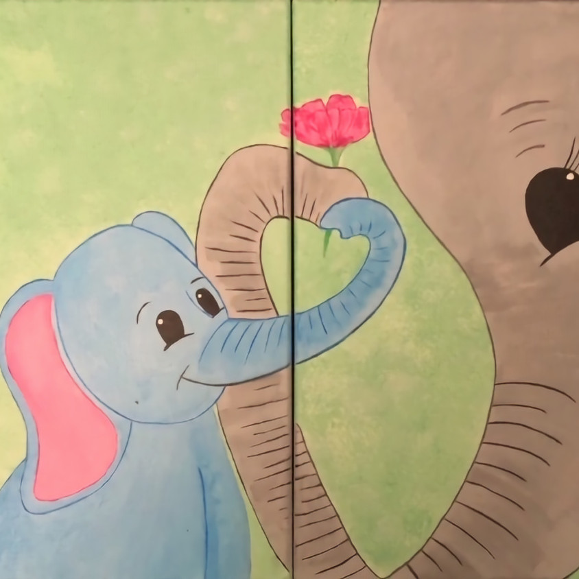 Station House Pub & Grill - Parent and Child Painting Class - 2 Canvases become  one painting!
