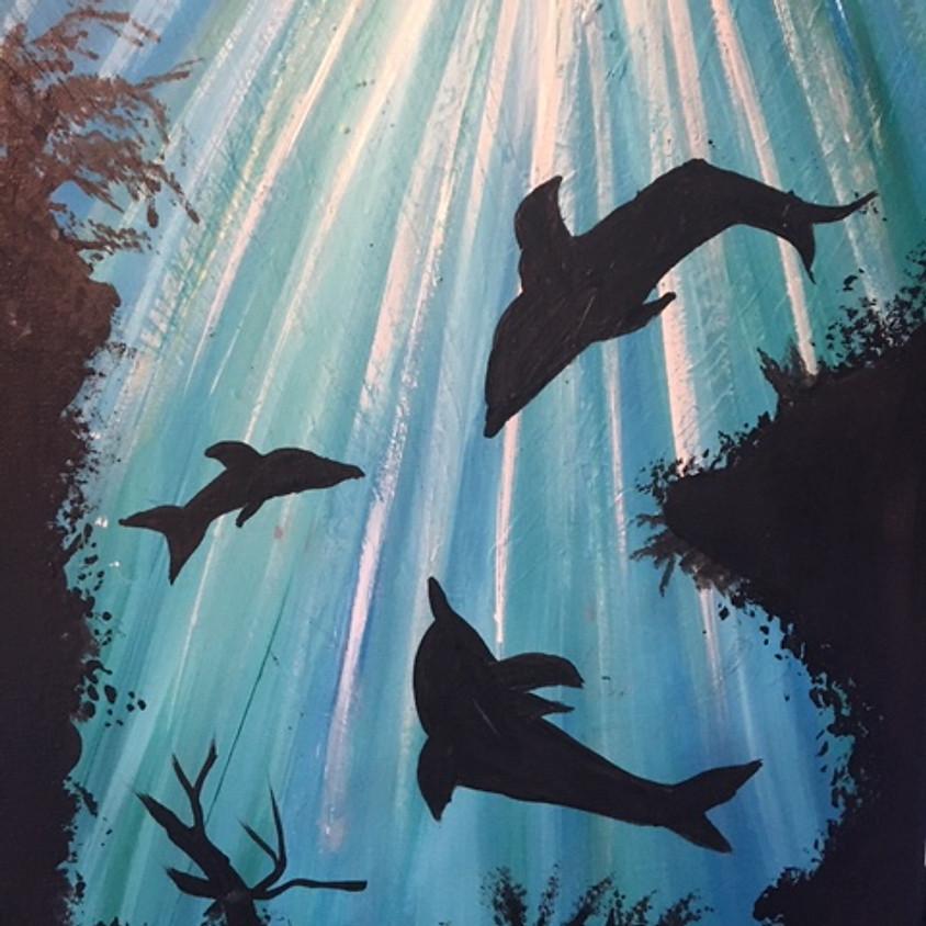 ZOOM $5.00 Family Paint Night - Dolphin Family (1)