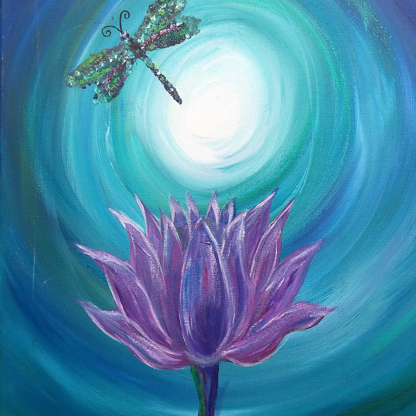 Paint Night at 3 Dogs Brewing  - Tap painting for full view- Lotus Flower & Dragonfly