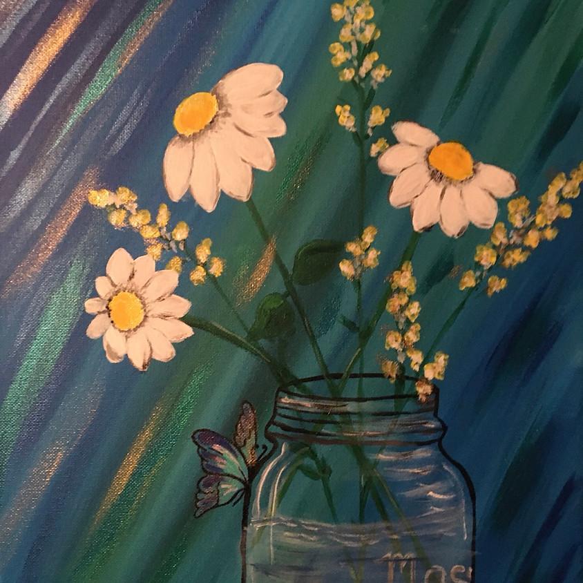 Mason Jar Flowers & Butterfly - On Zoom