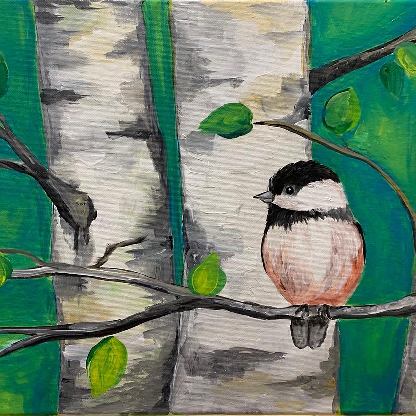 Birch Trees & Bird - Creo Art Studio
