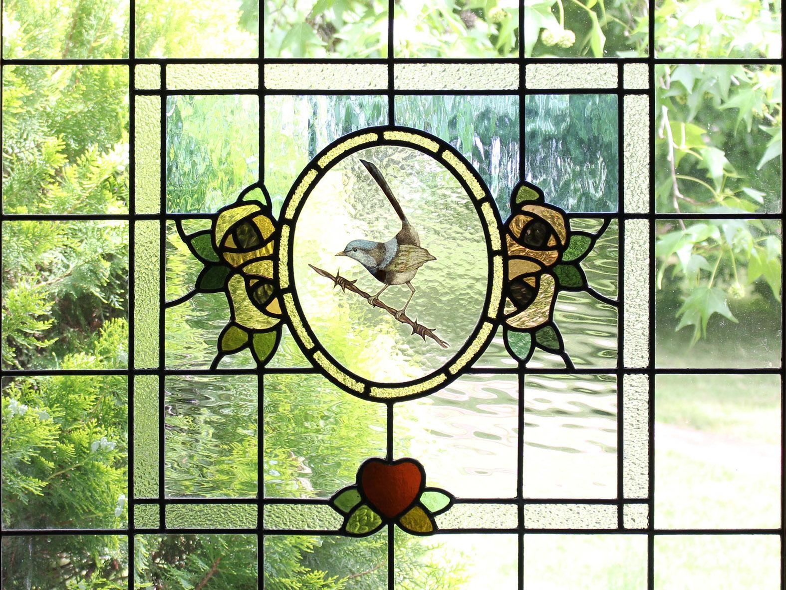 Blue Wren stained glass window leigh schellekens