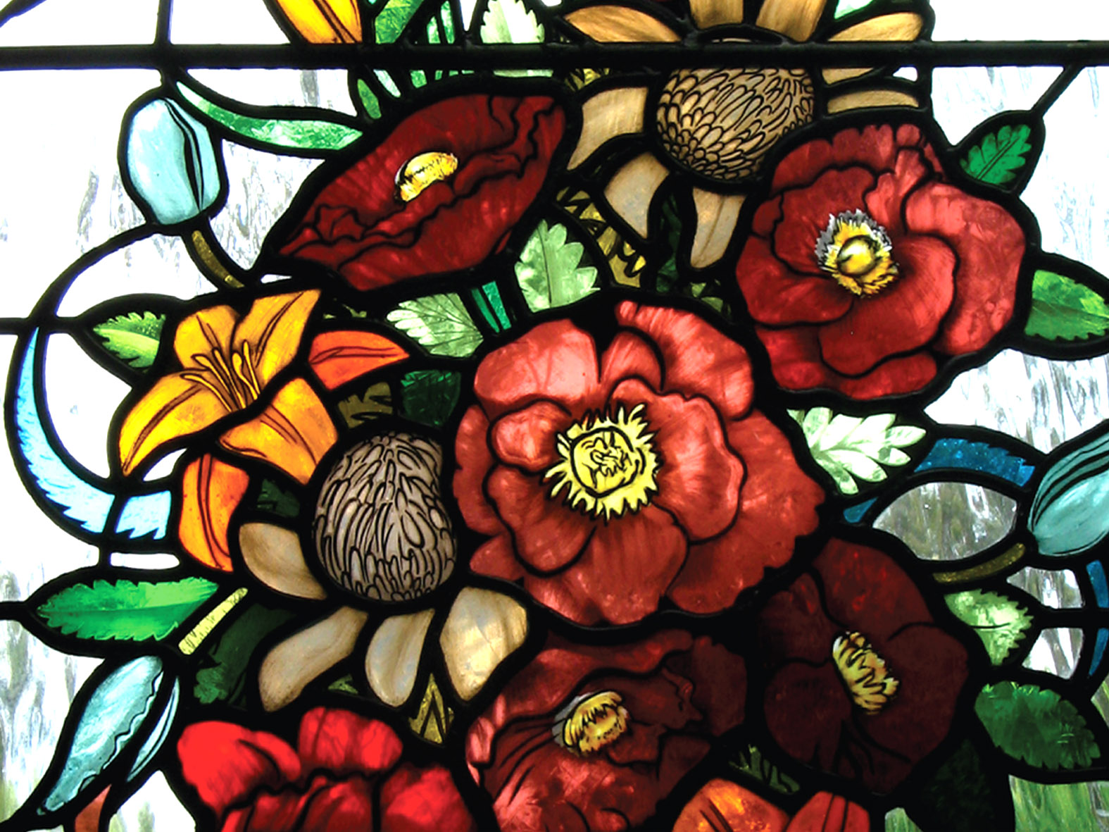 floral cluster leadlight leigh schellekens