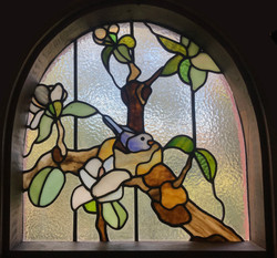 Blossom and bird Leadlight  Leigh Schell