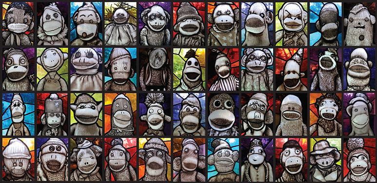 Stained glass Sock Monkey window, Leigh Schellekens,