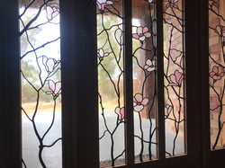 Magnolia stained glass window leadlight