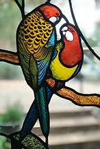Stained glass Parrots Eastern Rosella Le