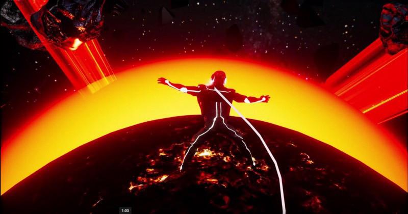 Man awakening in space