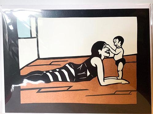 Mom & Baby Yoga Greeting Card (Blank Inside)