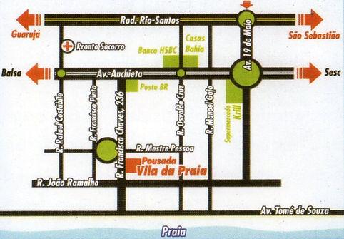 Mapa para chegar na Pousada Vila da Praia