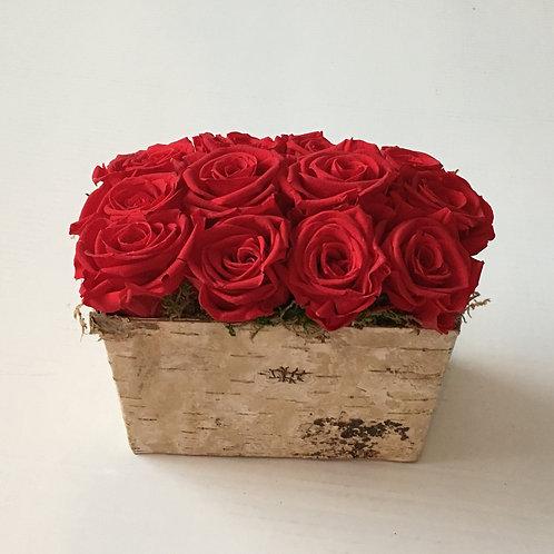 12 Roses in Birch Bark Basket