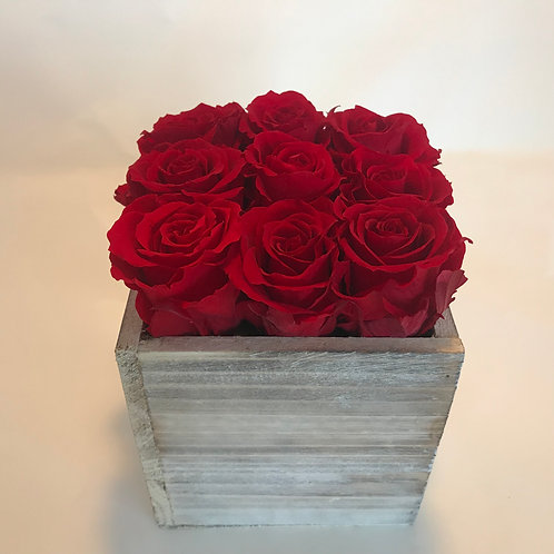 Large Wood Box with 9 Roses