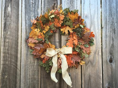 California Oak Wreath,  Basil Green Mix with yellow & orange