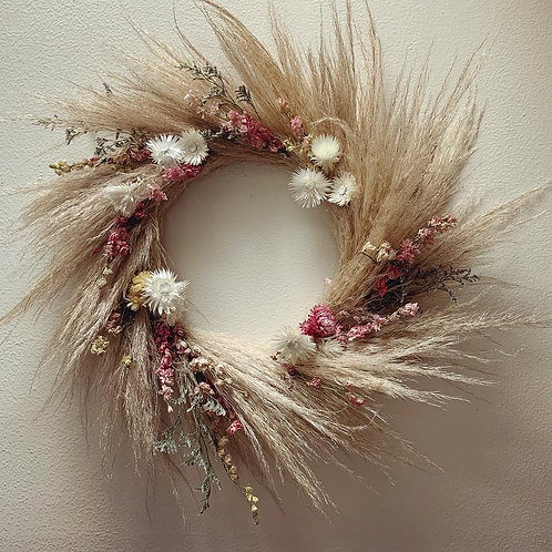 Dried Plumosa Wreath with Pink and White Dried Flowers