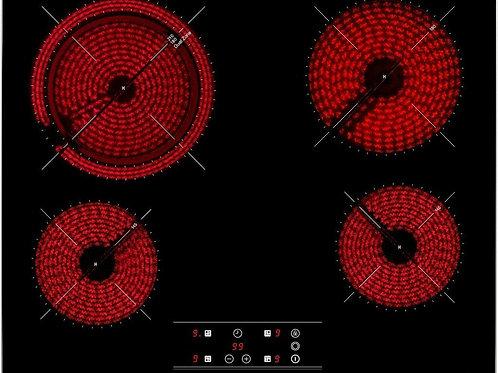 Vitrocerámica de 60 cm con Slim metal frame y 4 zonas con Touch Control TT 6420