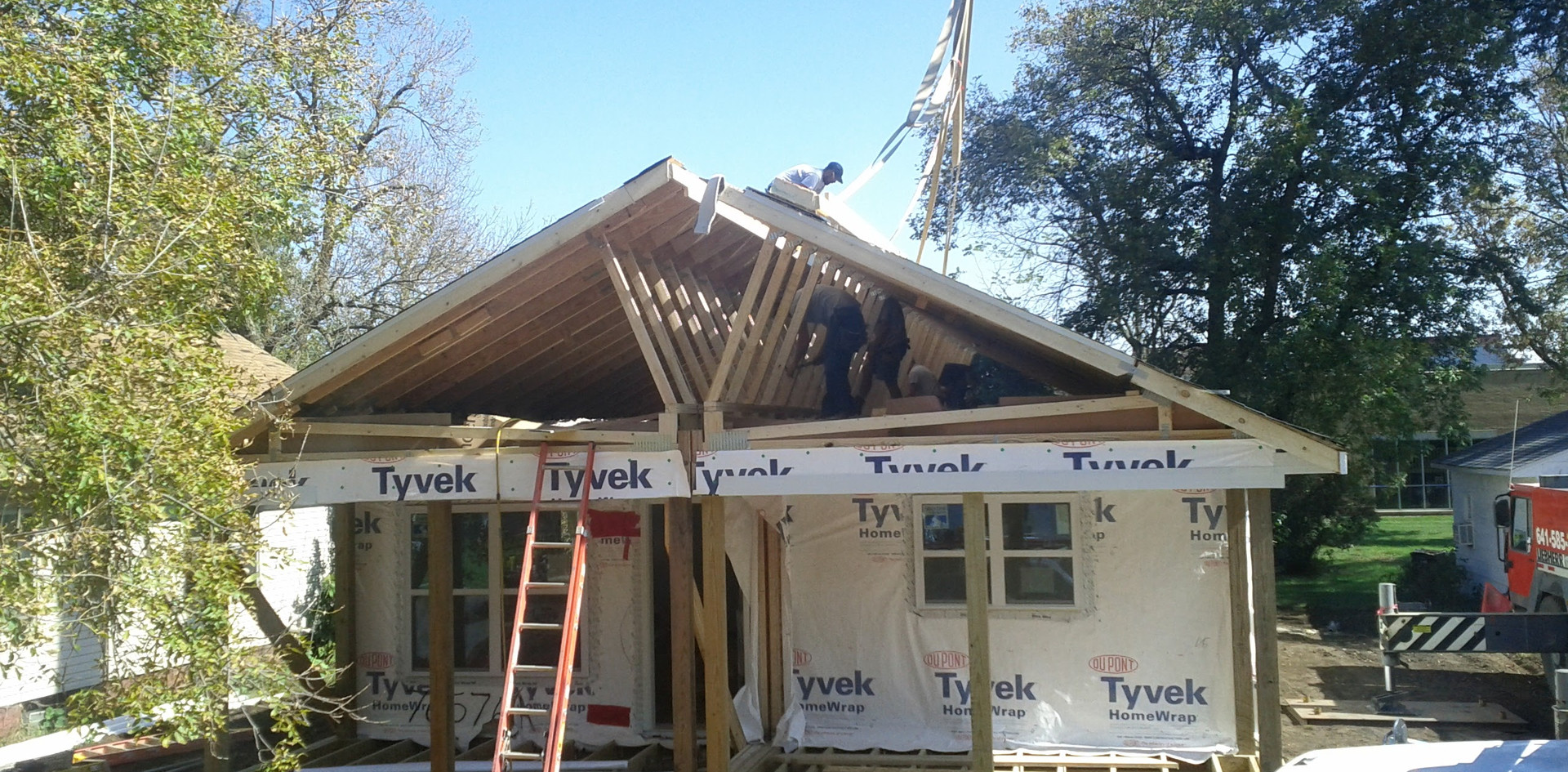 Lifting the second half of the roof