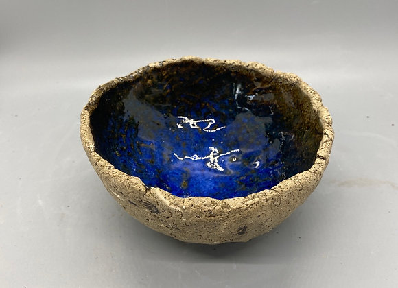 Rustic bowl - tan with blue