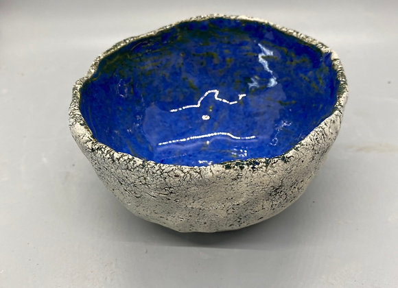 Rustic bowl - grey with blue