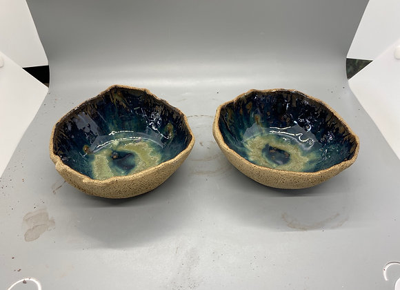 Rustic bowls - tan with variegated green