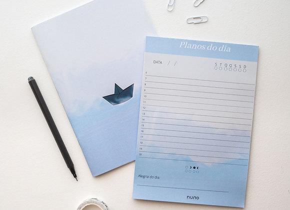 Planejador diário + Bloco de tarefas barquinho