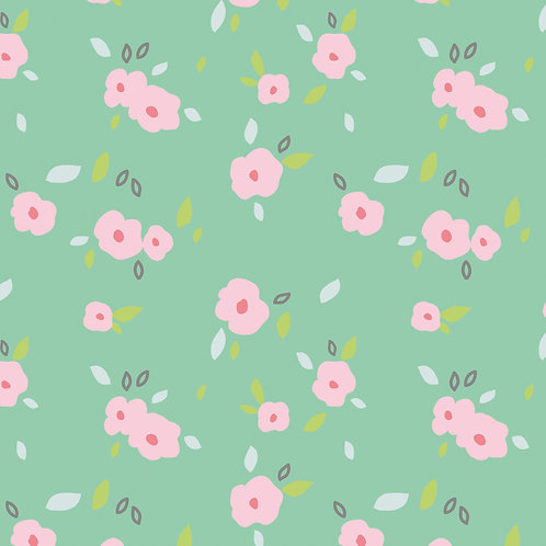 in bloom meadow flowers pink green organic quilting cotton