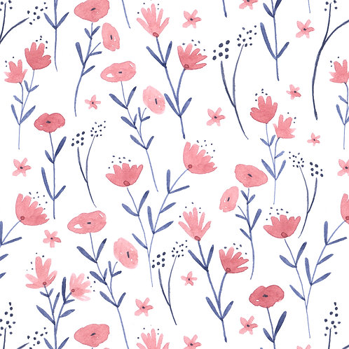 wildflowers blu pink organic quilting cotton