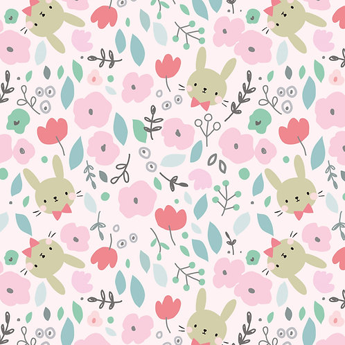 bunnies flowers pink green organic quilting cotton