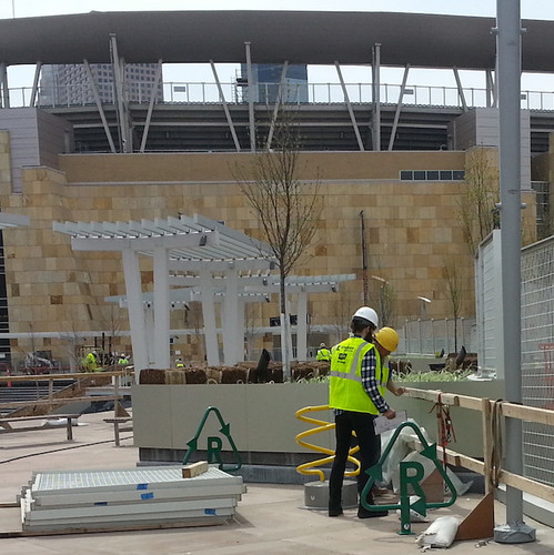Recycling bike rack install at Target Field Station