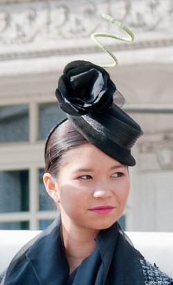 Black Mini Boater Hat