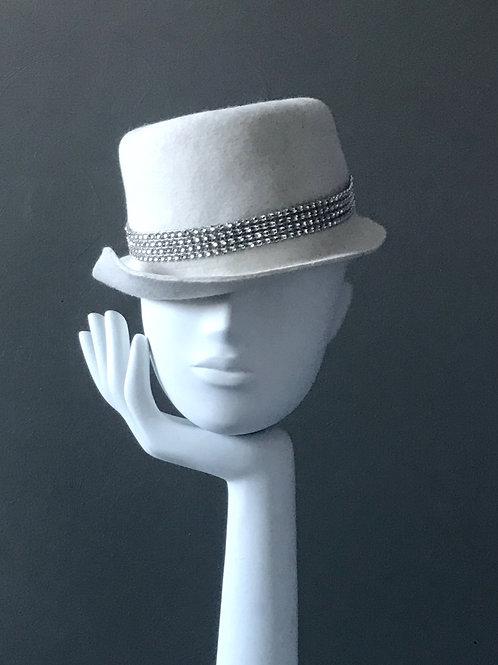 Ivory Felt Boater Hat