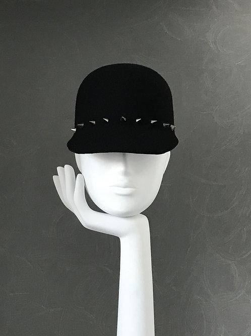 Black Studded Felt Cap