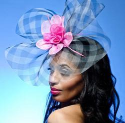 20)Black/White Plaid Crinoline Headpiece