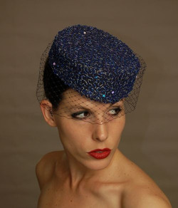 Pillbox Hat with Vintage French Beads and Sequins.