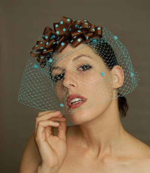 Brown/Blue Polka Dot Cocktail Hat with Blue Veiling