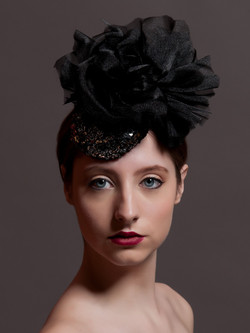 Black and Silver Sequin Button Beret with silk organza flower