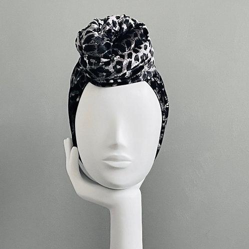Black & Silver Animal Print Turban