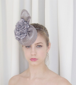 Silver Sinamay Cocktail Hat