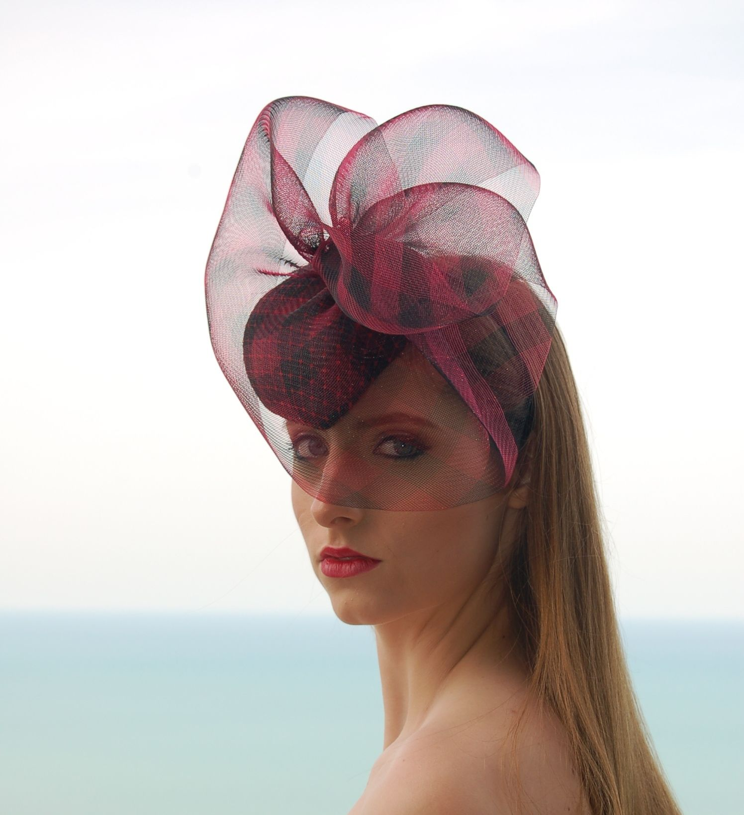 Red Heart-Shaped Cocktail Hat with Crinoline