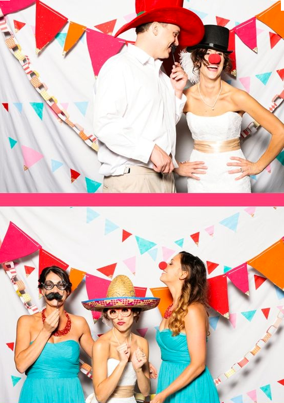 Festive Photo Booth Backdrop with Banners