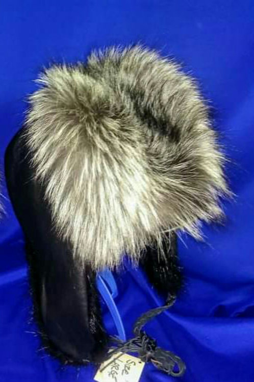 Silver fox and beaver trapper hat
