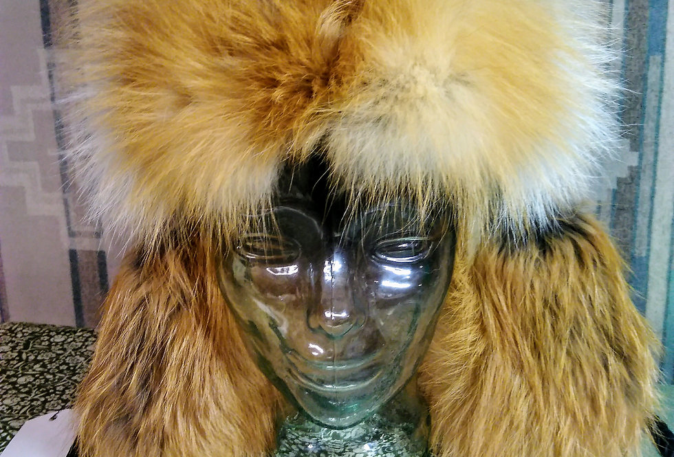 Red fox, lamb leather Bomber hat