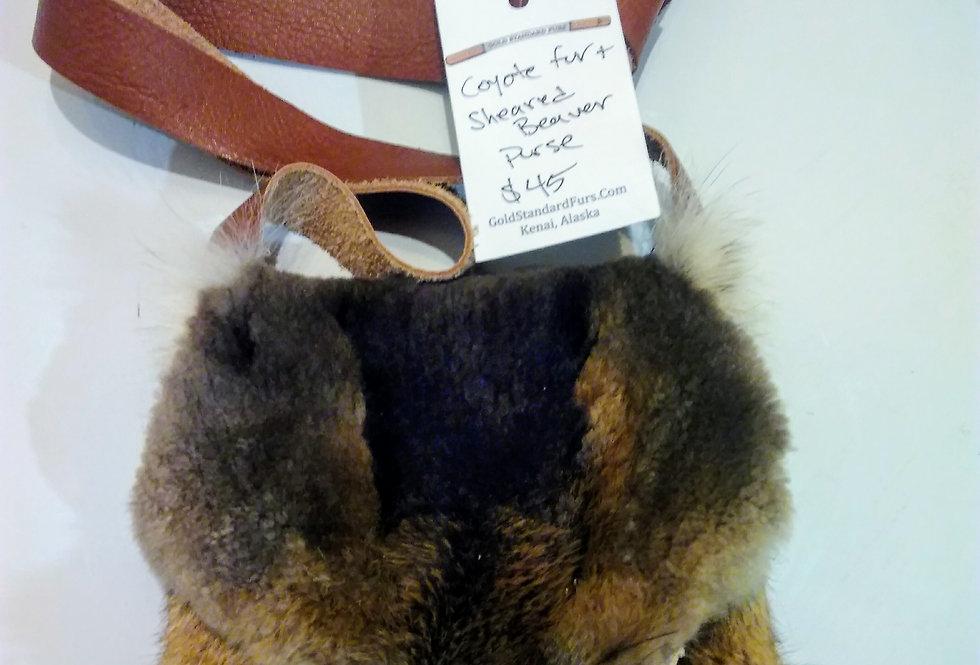 Sheared beaver face purse