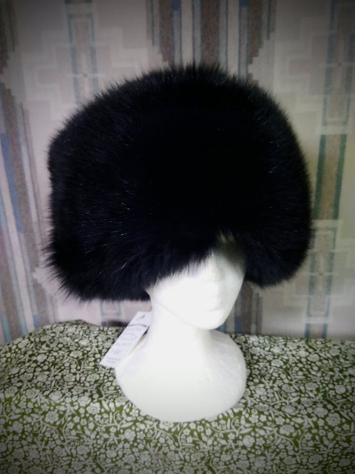 Black fox pillbox hat
